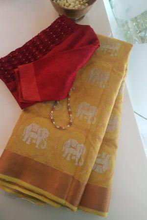 Yellow elephant real zari kota saree