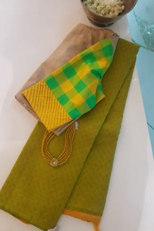 Yellow green mat weave partly kanchi silk saree 2