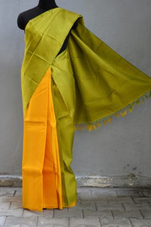Yellow green mat weave partly kanchi silk saree