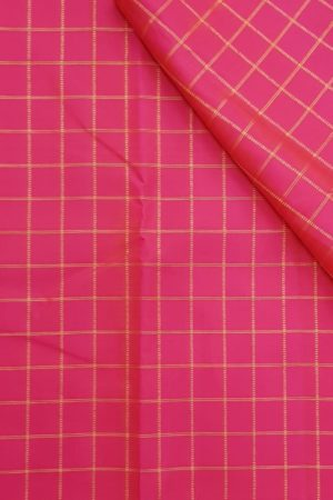 fuschia pink zari checks kanchi silk fabric
