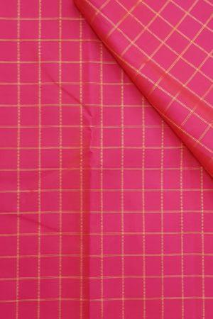fuschia pink zari checks kanchi silk fabric