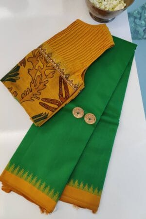 green with mustard korvai border