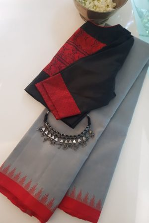 grey kanchi silk saree with red korvai border