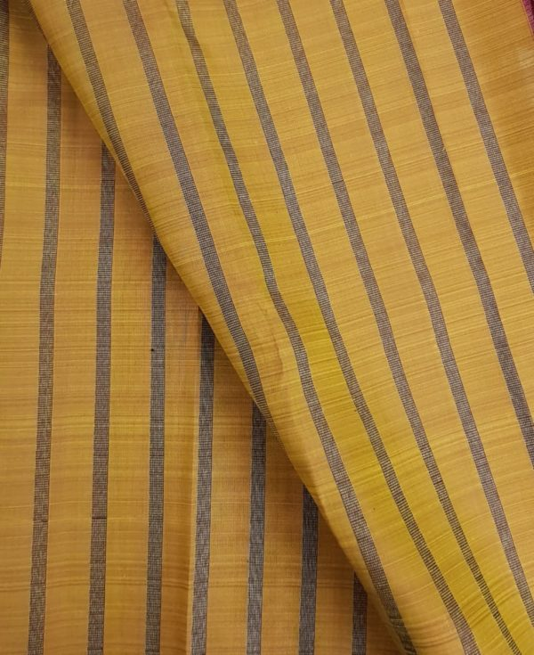 honey and brown stripes kanchi silk fabric