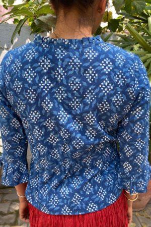 indigo blue cotton long blouse 1