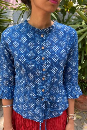 indigo blue cotton long blouse