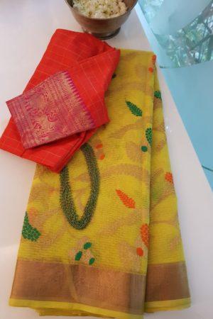 lemon yellow real zari kota saree