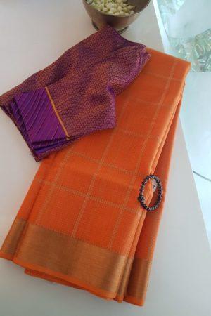 orange checks real zari kota saree