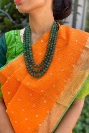 orange with butta real zari kota saree 1