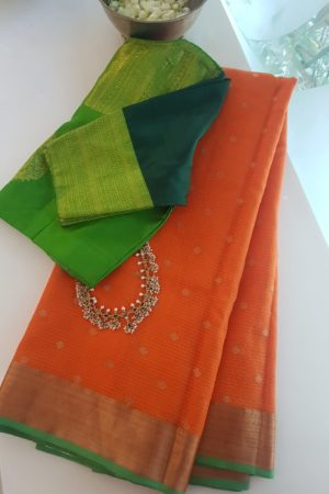 orange with butta real zari kota saree