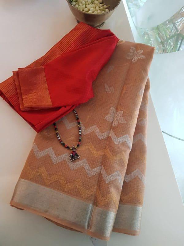 pale brown chevron design real zari kota saree