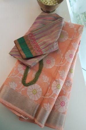 peachish pink floral real zari kota saree