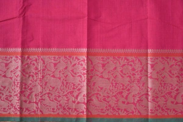 pink kanchi cotton saree with vanasingaram border 1