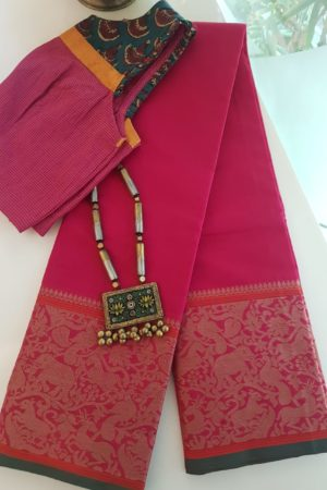 pink kanchi cotton saree with vanasingaram border 2