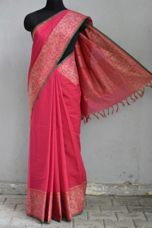 pink kanchi cotton saree with vanasingaram border