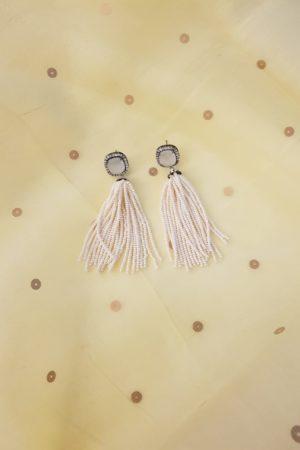 white chandelier earring