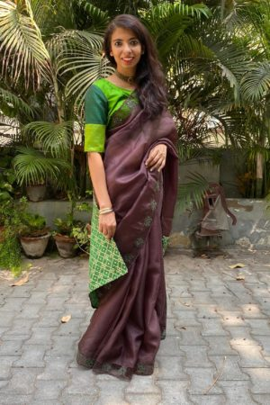 Brown organza cutwork saree 1