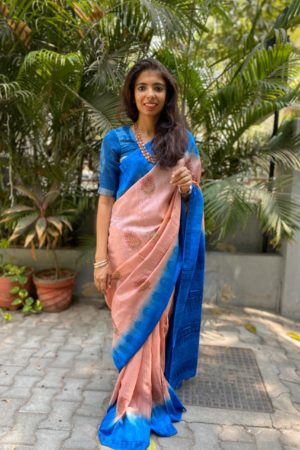 Dusty pink blue tussar block printed saree 1