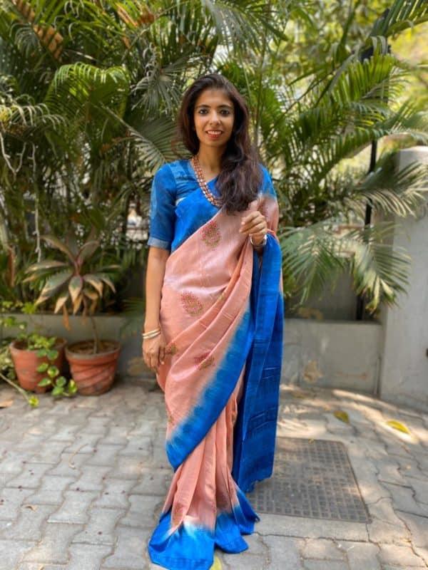 Dusty pink blue tussar block printed saree 1