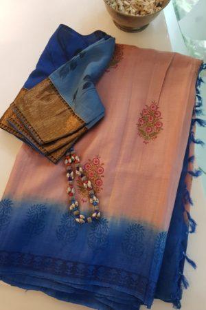 Dusty pink blue tussar block printed saree