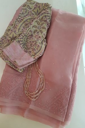 Dusty rose kutchwork mukaish organza saree