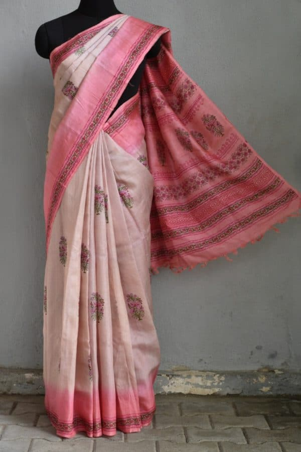 Dusty rose pink block printed tussar saree 1