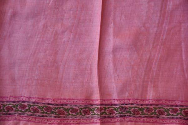 Dusty rose pink block printed tussar saree 2