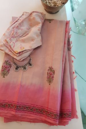 Dusty rose pink block printed tussar saree