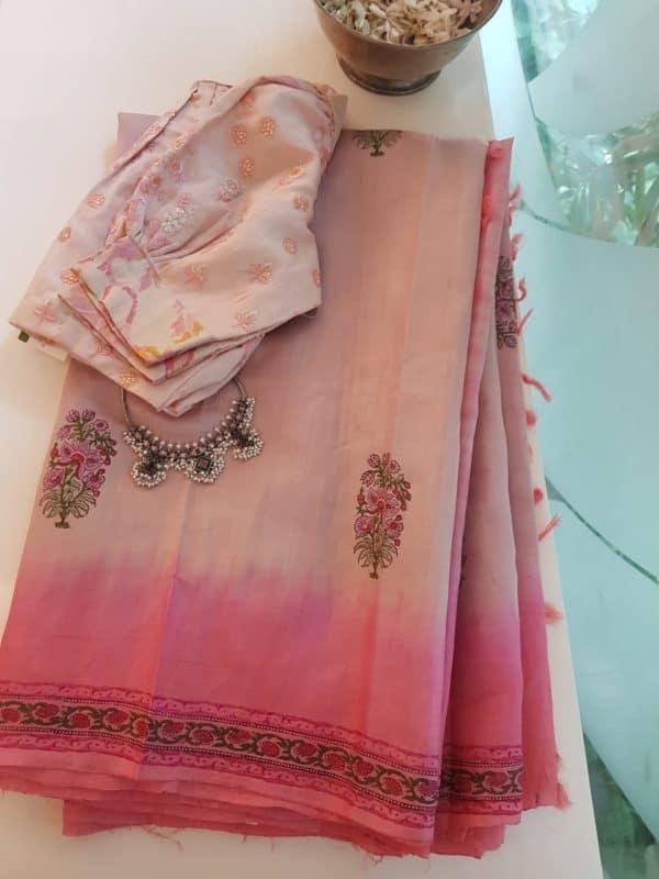 Dusty rose pink block printed tussar saree