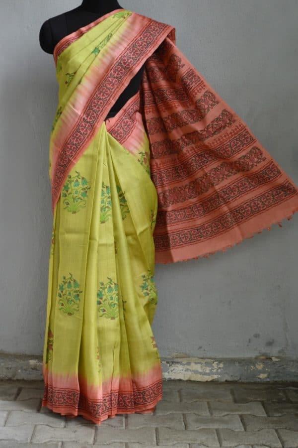 Green and pink block printed tussar saree 1