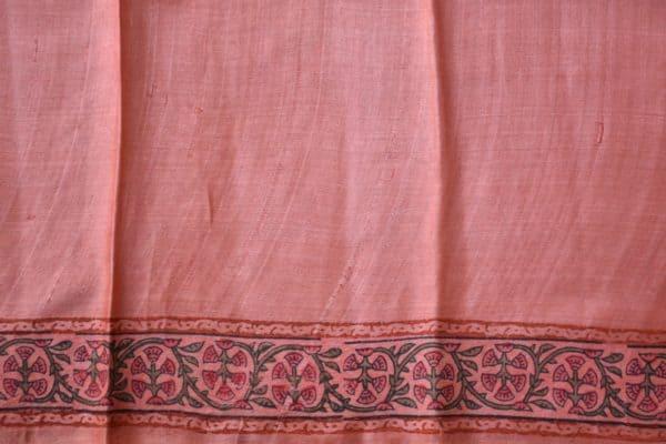 Green and pink block printed tussar saree 2