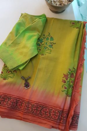 Green and pink block printed tussar saree