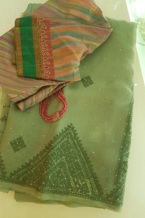 Green kutchwork mukaish organza saree