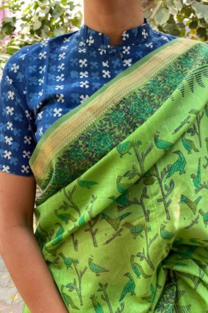 Green maheshwari saree 1