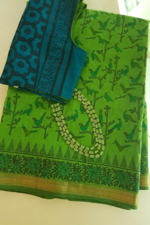 Green maheshwari saree