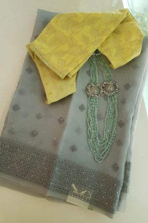 Grey kutchwork mukaish organza saree