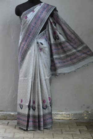 Grey tussar block printed saree 1