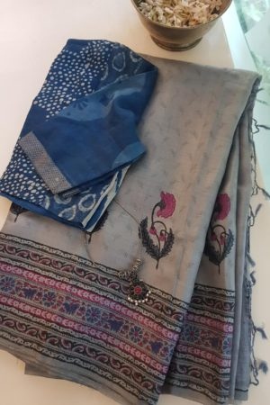 Grey tussar block printed saree