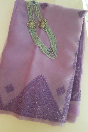 Lavendar kutch work mukaish organza saree