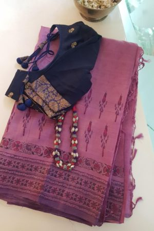 Mauve tussar block printed saree