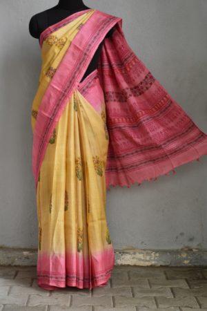 Mustard pink tussar block printed saree 1