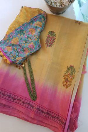 Mustard pink tussar block printed sareee