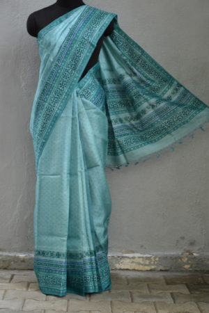 Pale blue tussar block printed saree 1