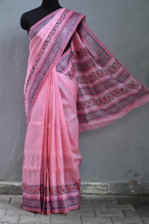 Pink tussar block print saree 1