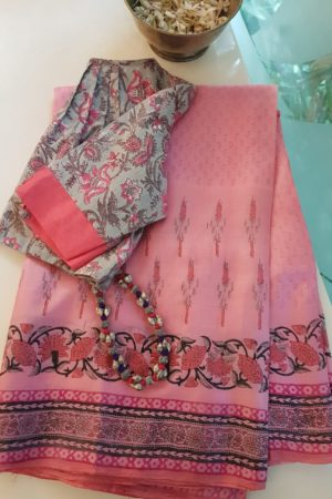 Pink tussar block print saree