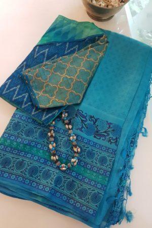 Turquoise block printed tussar saree