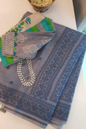 grey organza saree with kutch work