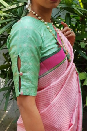 light pink kanchi silk saree with checks 1