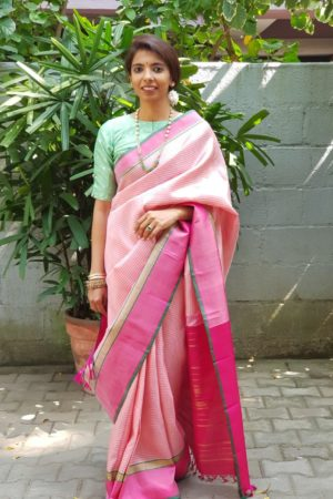 light pink kanchi silk saree with checks