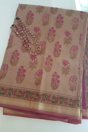 onion pink maheshwari saree